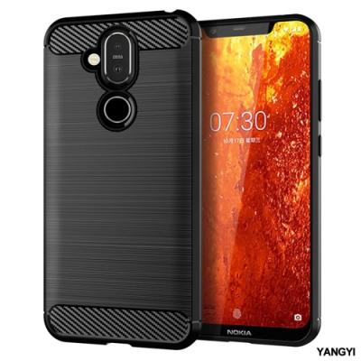 YANGYI揚邑 Nokia 8.1 / X7 碳纖維拉絲紋軟殼散熱防震抗摔手機殼-黑