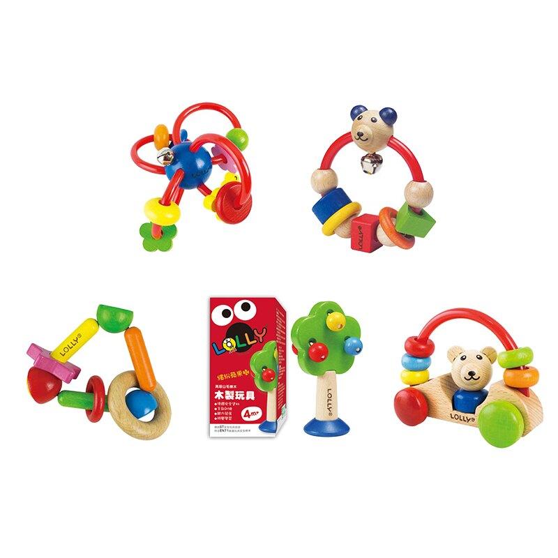 優生 LOLLY木製玩具(繽紛蘋果樹/微笑熊搖鈴/歡樂手搖鈴/小熊號快樂車/明日之星)【甜蜜家族】