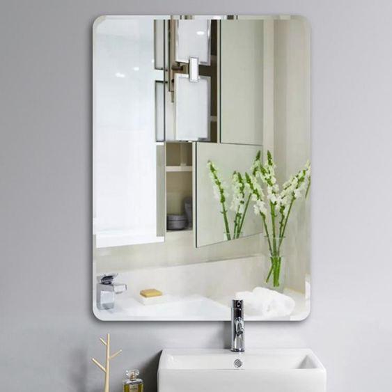 浴鏡 簡約黏貼浴室鏡子黏貼無框洗手間衛浴鏡衛生間鏡子壁掛化妝鏡歐式 CJ 雙12購物節