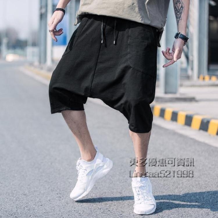 鉅惠夯貨-夏季哈倫短褲男潮流七分大吊襠嘻哈褲ins中褲寬鬆休閒沙灘五分褲