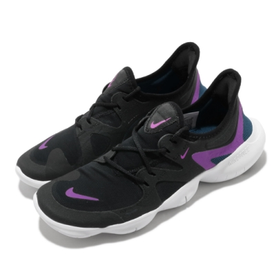 Nike 慢跑鞋 Free Rn 5 襪套式 女鞋 運動休閒 赤足 路跑 跑鞋 黑 紫 AQ1316009