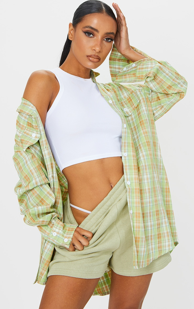 Sage Checked Oversized Shirt
