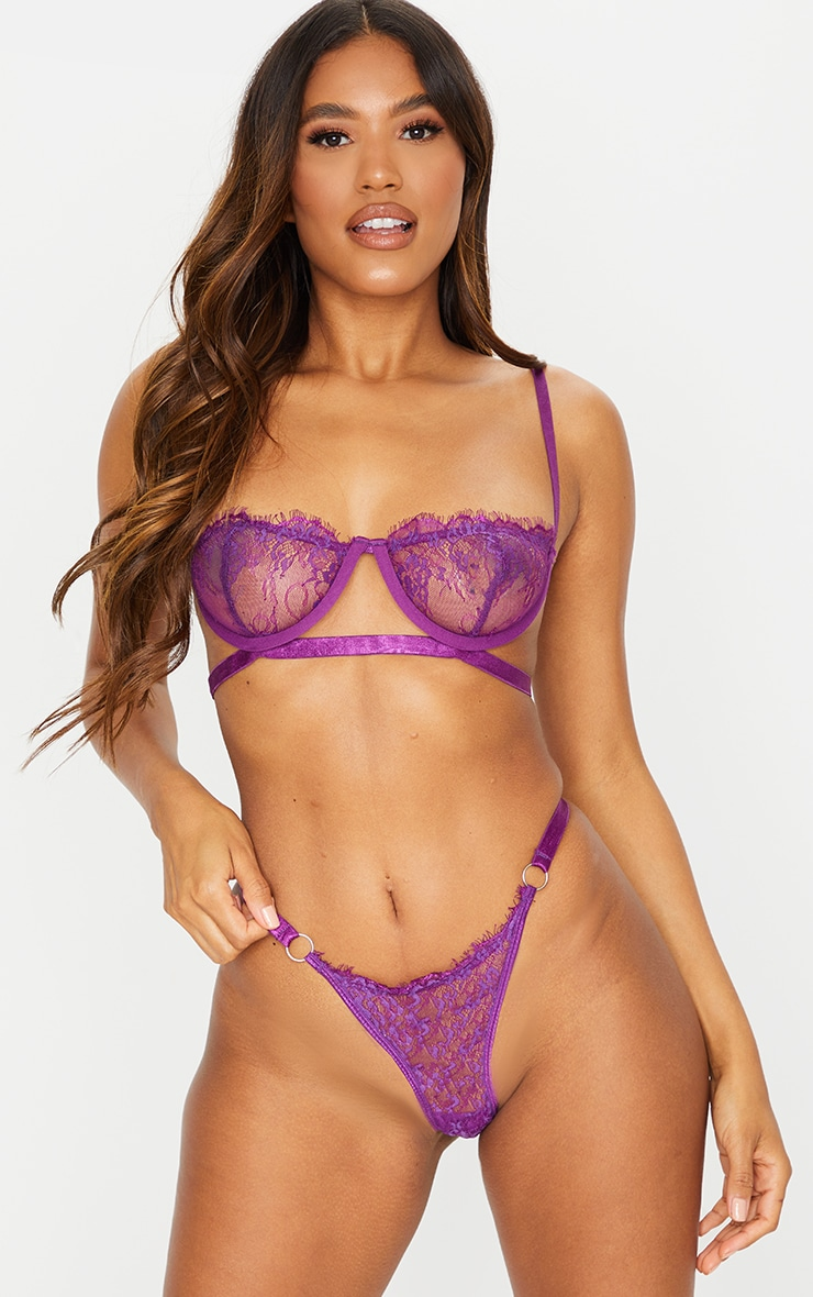 Purple Ring Detail Underwired Lingerie Set