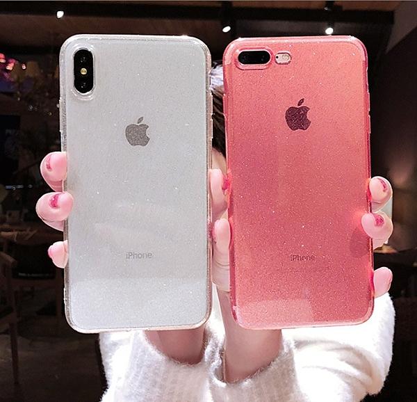 iPhone11閃粉手機殼xsmax適用蘋果XR透明硅膠6S創意7plus保護套i8