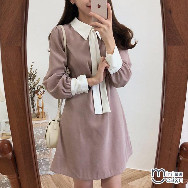 Mini嚴選-小香風撞色襯衫領短洋裝 二色(贈領口綁帶)
