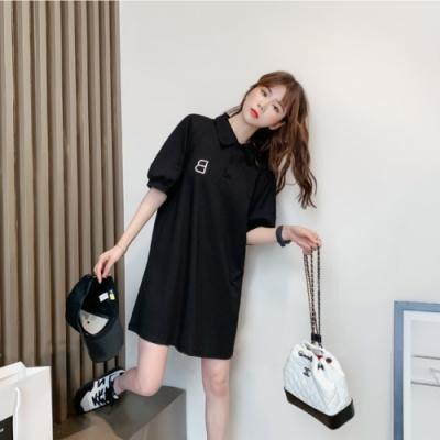 中大尺碼POLO衫領刺繡字母B燈籠泡泡袖連身洋裝L~4L-Ballet Dolly