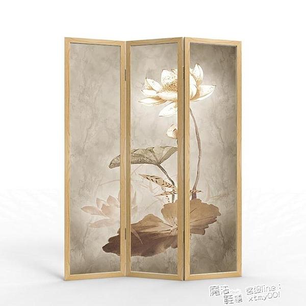 新中式原木屏風隔斷墻客廳實木簡約現代臥室摺疊行動辦公室內折屏 ATF 618促銷