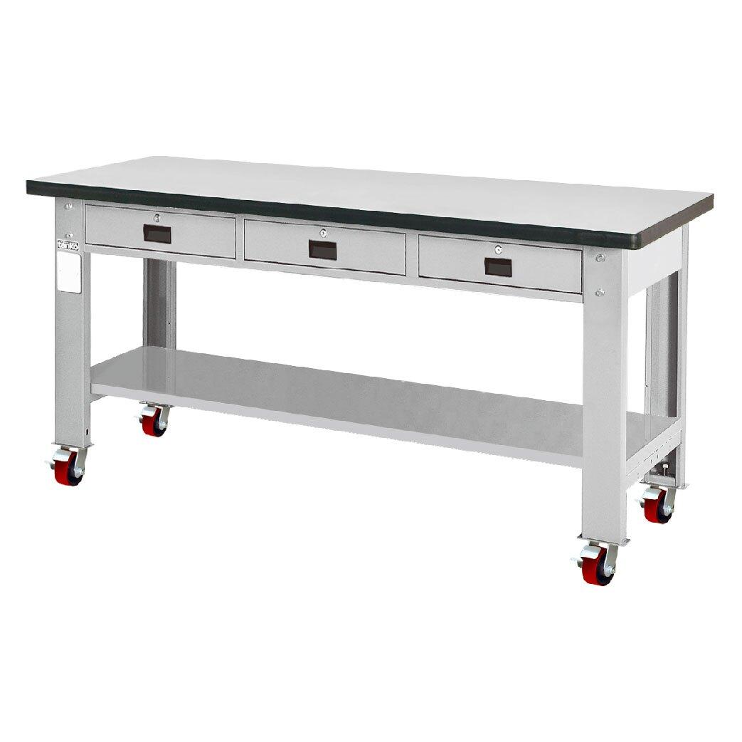 天鋼 耐磨桌板移動型工作桌 WAT-6203FM 寬1800mm 重輪型工作桌 工作臺 辦公桌 耐重桌 工廠桌 實驗桌