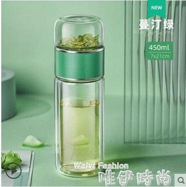 茶水分離泡茶杯水杯女便攜可愛過濾透明花茶杯子男網紅雙層玻璃杯 秋冬特惠上新~