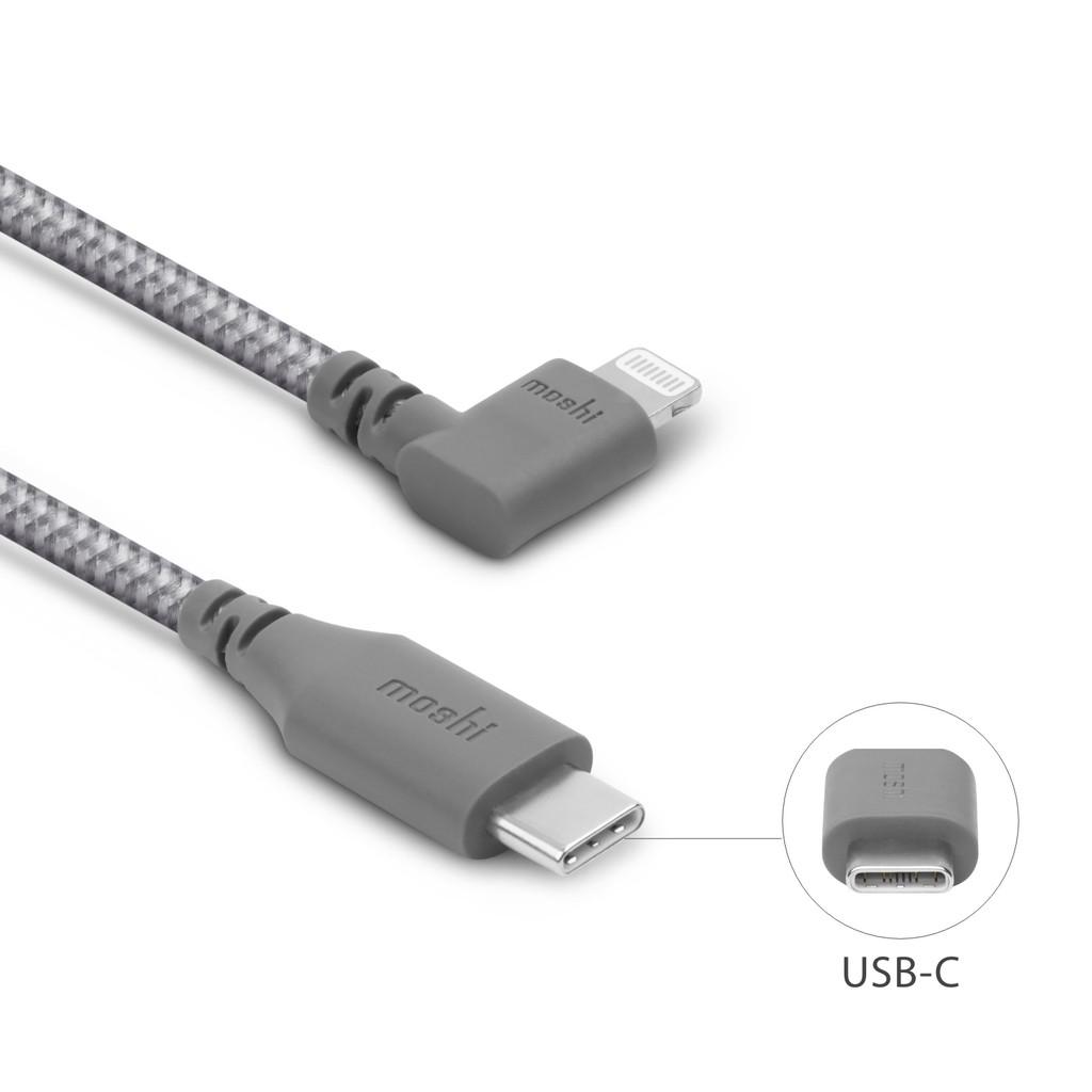 moshi Integra™ 強韌系列 USB-C to Lightning 90度彎頭耐用充電/傳輸編織線 1.5m