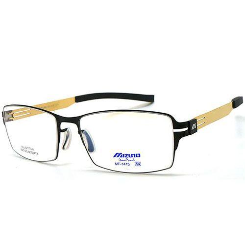 【MIZUNO】美津濃 光學眼鏡鏡框 MF-1415 C71 薄鋼 無螺絲 長方形鏡框 眼鏡 黑金 54mm