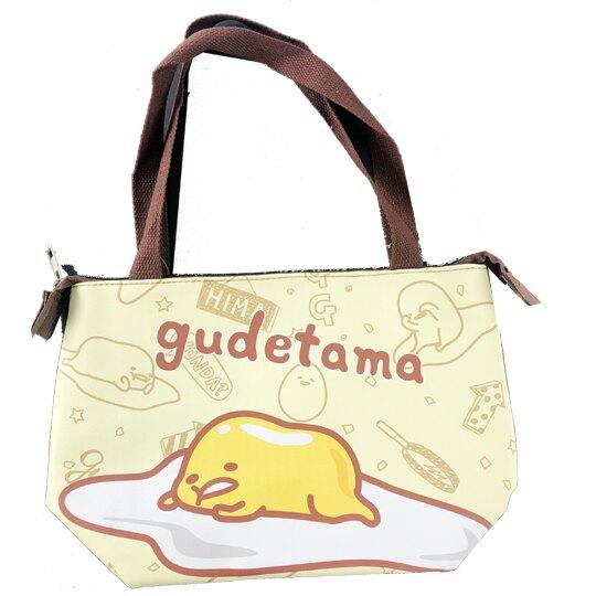【領券折$30】小禮堂 蛋黃哥 橫式皮質保冷便當袋 保冷提袋 野餐袋 手提袋 (黃 趴姿)