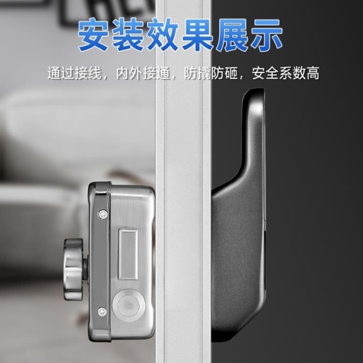 智慧門鎖 智慧指紋IC卡免布線電子牛頭鎖外裝老式家用不銹鋼遙控密碼門 WJ 零度3C 全館限時8.5折特惠!