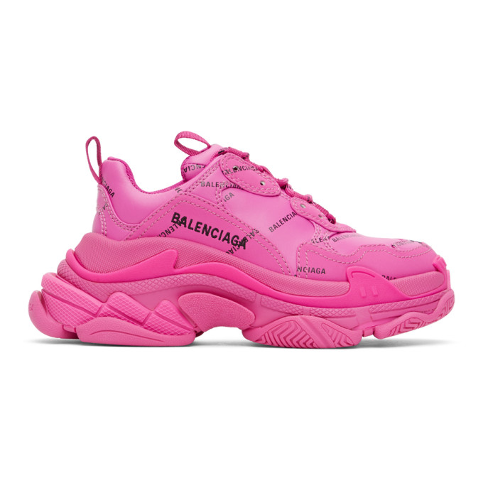 Balenciaga 粉色 Triple S Allover Logo 运动鞋