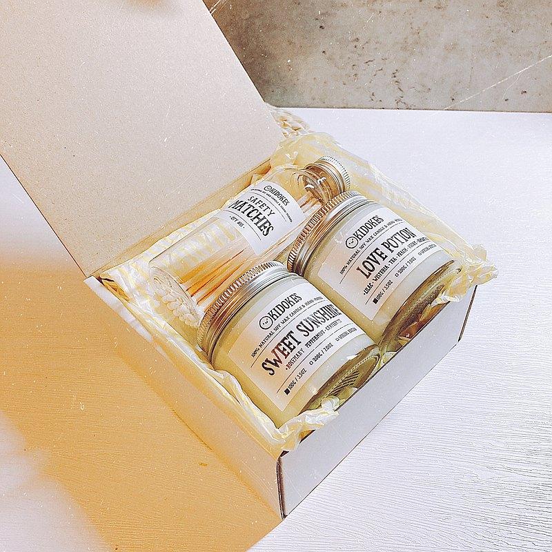 自選兩入100g手工大豆香氛蠟燭禮盒&加長火柴一罐 淨化空間 附袋