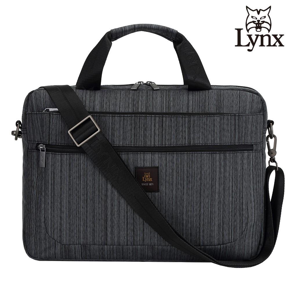 LYNX 美國山貓旅行休閒多隔層機能側背公事包布包(深灰色) LY39-2N74-91 廠商直送 現貨