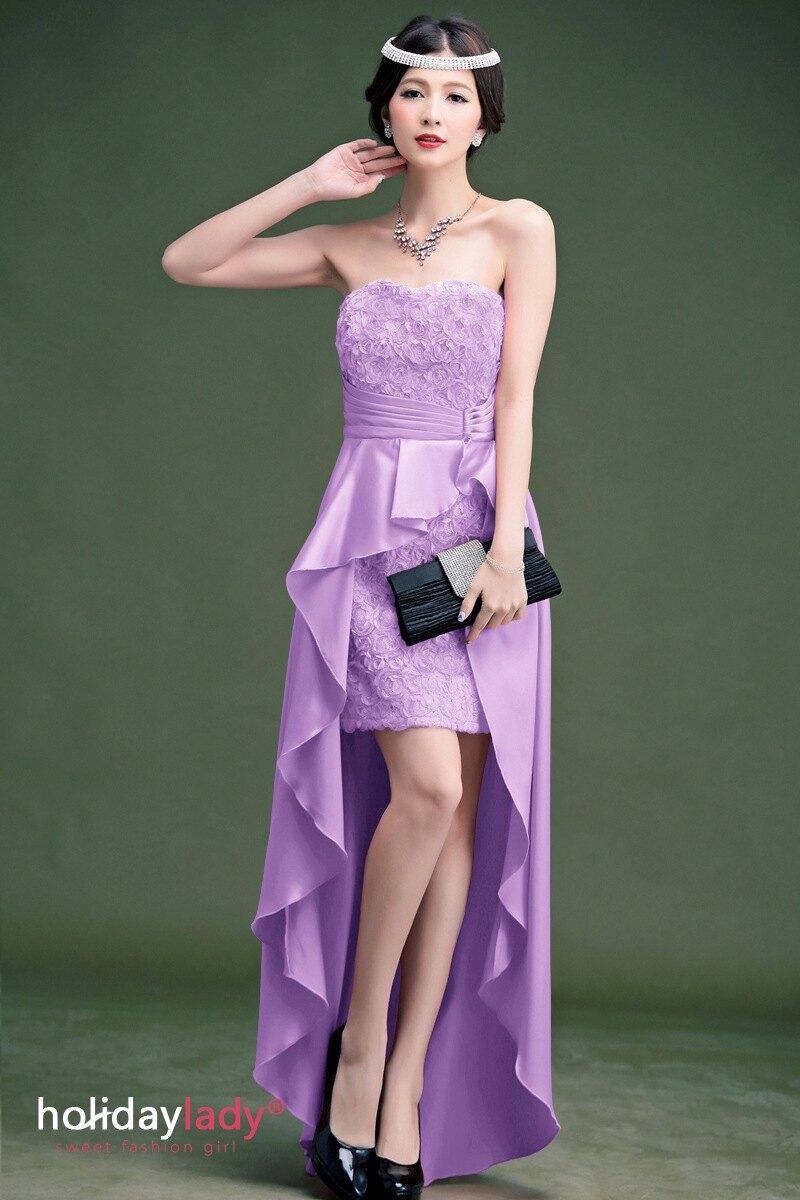 灰姑娘[2362-S] 玫瑰蕾絲魚尾修身造型前短後長小禮服*出清不退
