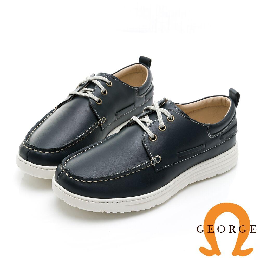 【GEORGE 喬治皮鞋】輕量系列 輕量真皮繫帶休閒鞋-藍 018001BJ-70