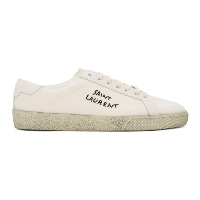 Saint Laurent 灰白色 Worn-Look Court Classic SL/06 运动鞋