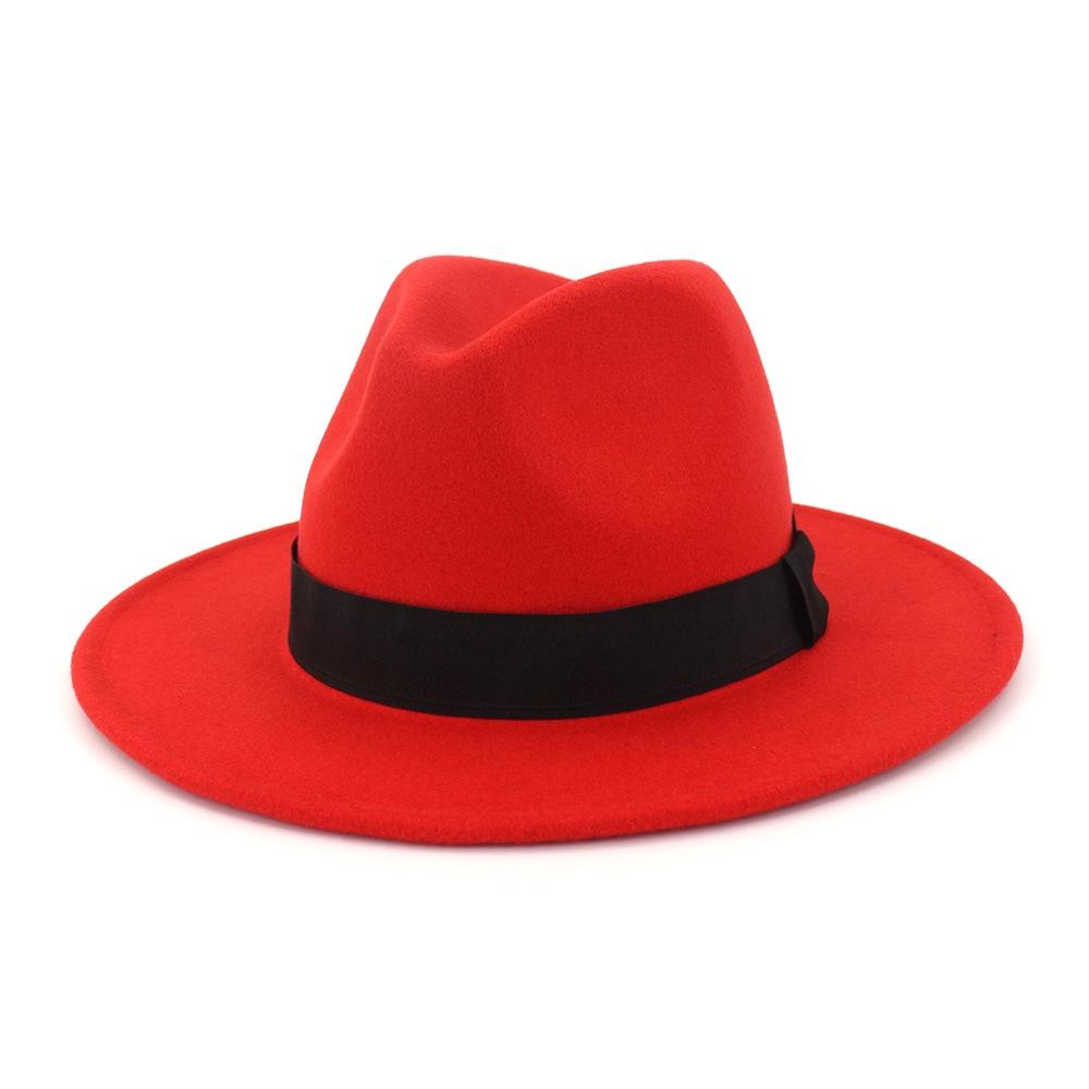 【紳士帽專賣】 男女士情侶帽子羊毛禮帽直邊爵士帽子