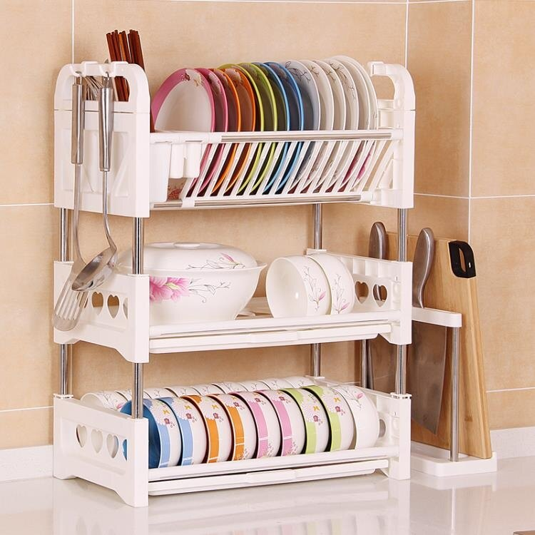 三層碗架碗碟瀝水架臺面廚房置物架洗放碗盤子塑料碗筷收納盒碗櫃ATF 全館特惠8折