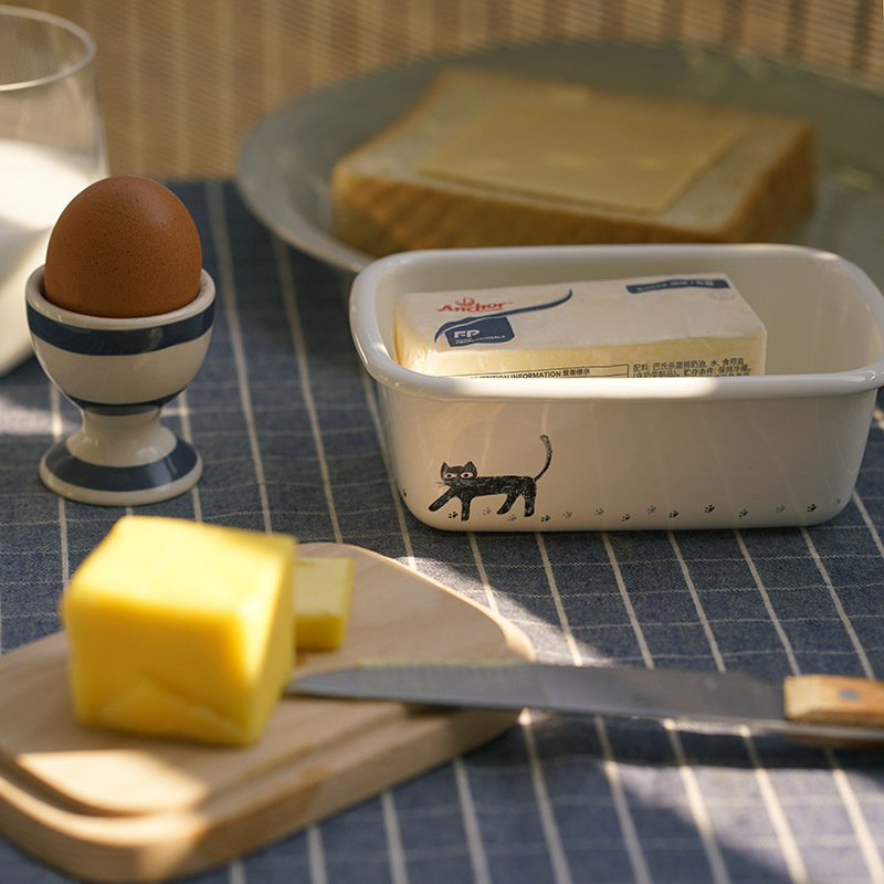 可愛貓咪系列琺瑯奶油盒+木質上蓋 【來雪拼】 【現貨】糖果盒 文具盒 茶包盒
