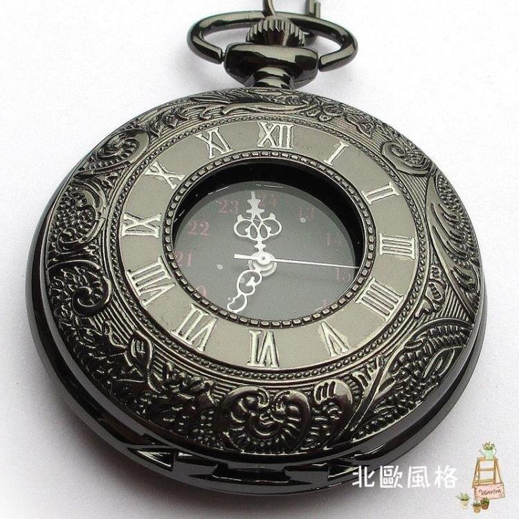 2021搶先款 懷錶翻蓋復古鏤空懷錶項鍊黑執事男女士學生兒童石英錶 新年狂歡