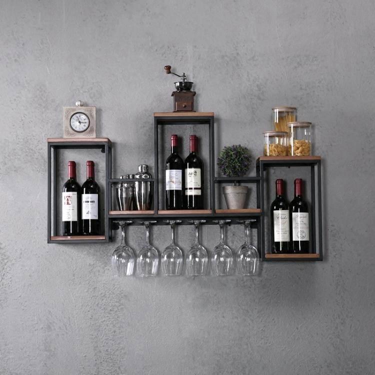 歐式鐵藝實木酒架置物架壁掛紅酒架創意餐廳裝飾牆上酒櫃酒杯架