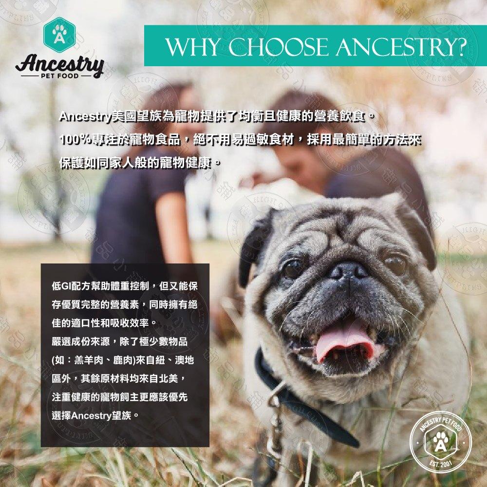 [送贈品] 美國望族 Ancestry 天然犬糧 低敏系列 12LB/30LB 狗飼料 全齡犬 高蛋白