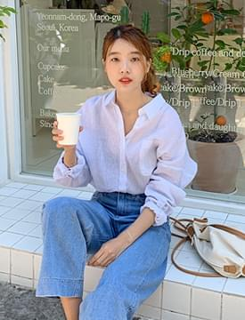 韓國空運 - Harry linen stripe shirts_B  (size : free) 襯衫