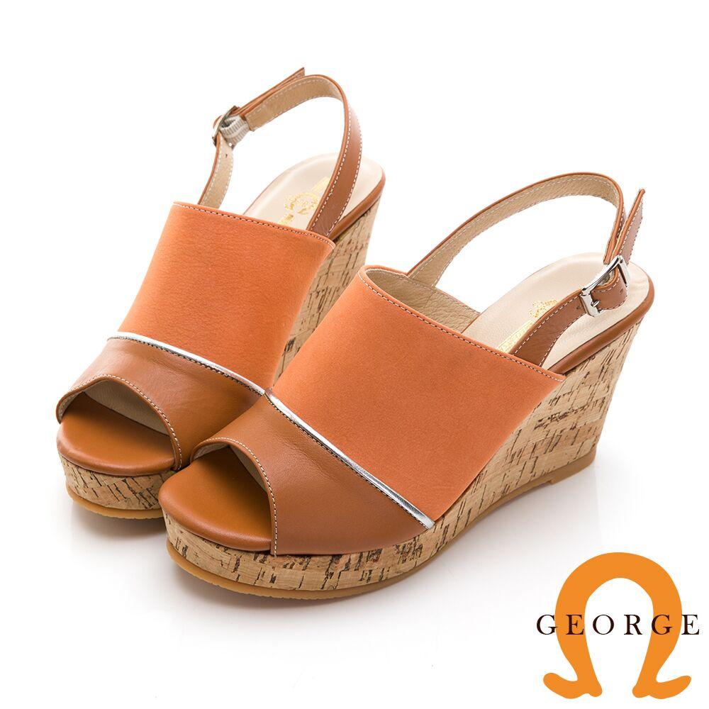 【GEORGE 喬治皮鞋】夏日風情真皮拼接魚口楔型涼鞋-橘013105HH-86