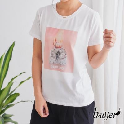 【白鵝buyer】韓風 PHOTO手提包層次純棉上衣(白)