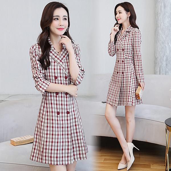 第二件5折 韓國風格紋西裝裙收腰顯瘦氣質付款長袖洋裝