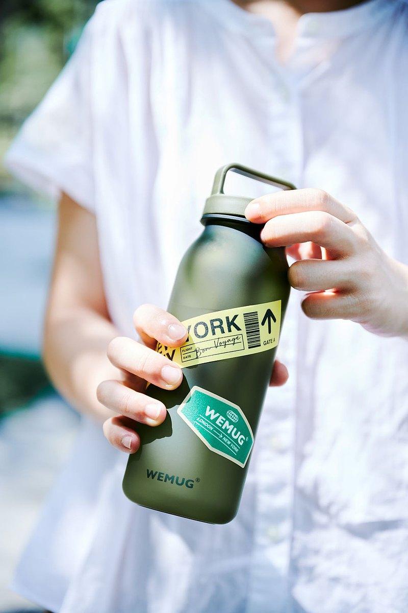 禮物 環保 個性化含貼紙 日系設計  輕  提式防漏 隨行杯水瓶 5色