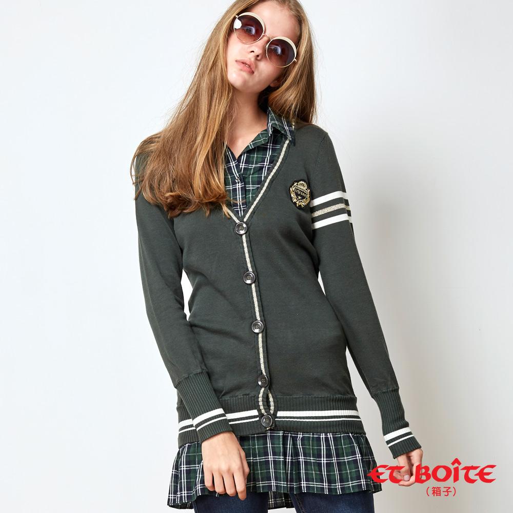 【5折限定 】學院風格子拼接洋裝外套(綠) - BLUE WAY  ET BOiTE 箱子