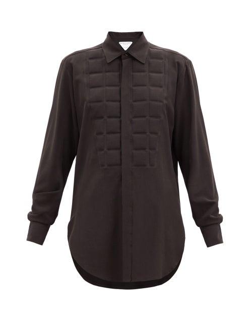 Bottega Veneta - Quilted Silk Crepe De Chine Shirt - Womens - Brown