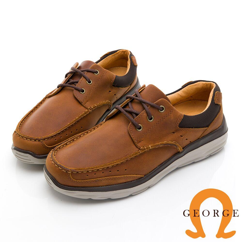 【GEORGE 喬治皮鞋】輕量系列 超輕反毛皮配色休閒鞋 -棕色018005IB-24