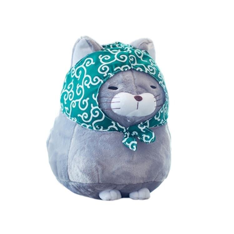 可愛福氣貓咪抱枕貓頭靠墊汽車辦公室沙發床頭靠枕靠背墊護腰腰枕全館促銷限時折扣