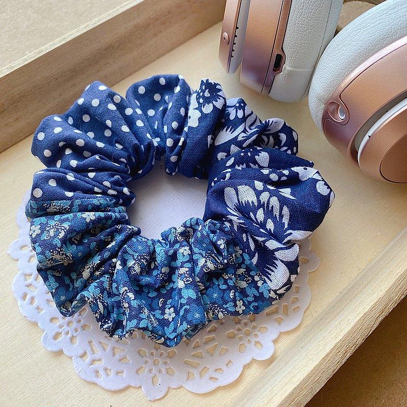 純手工 限量款 碎花拼布藍色甜甜圈 大腸髮圈