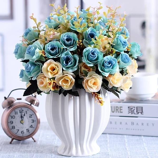 仿真花 假花 仿真玫瑰花束假花絹花干花藝塑料客廳擺設餐桌室內擺件裝飾花盆栽