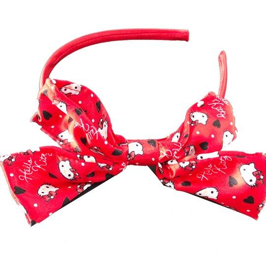 小禮堂 Hello Kitty 緞面蝴蝶結髮箍 造型髮箍 兒童髮箍 髮帶 (紅 愛心)