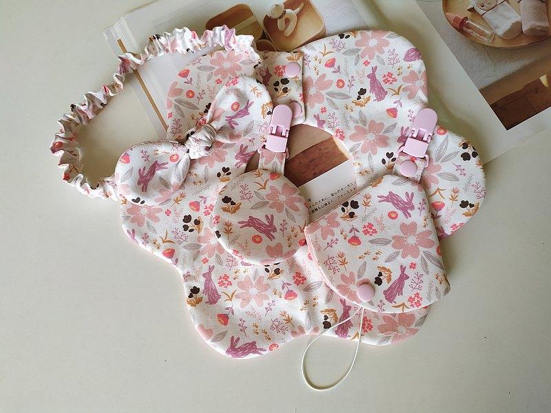 彌月禮盒 櫻花小兔 嬰兒圍兜  嬰兒髮帶  平安符袋 奶嘴夾