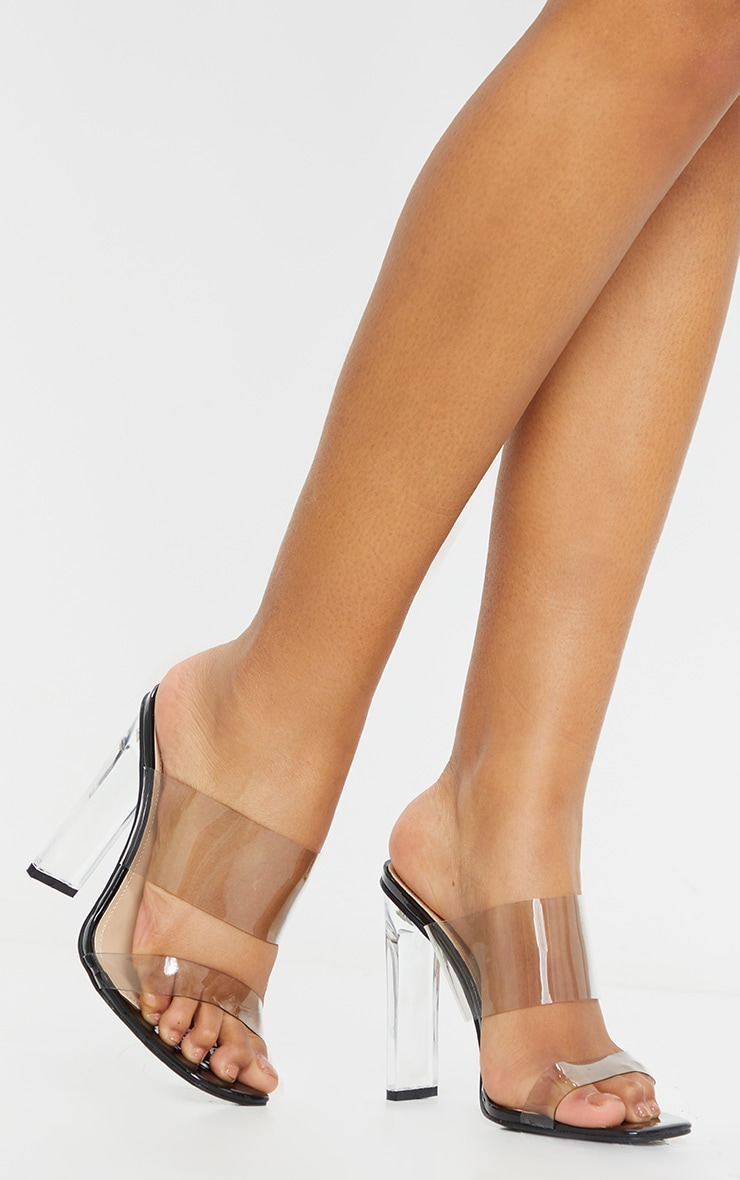 Black Wide Fit Tinted Clear Twin Strap Mule Heels