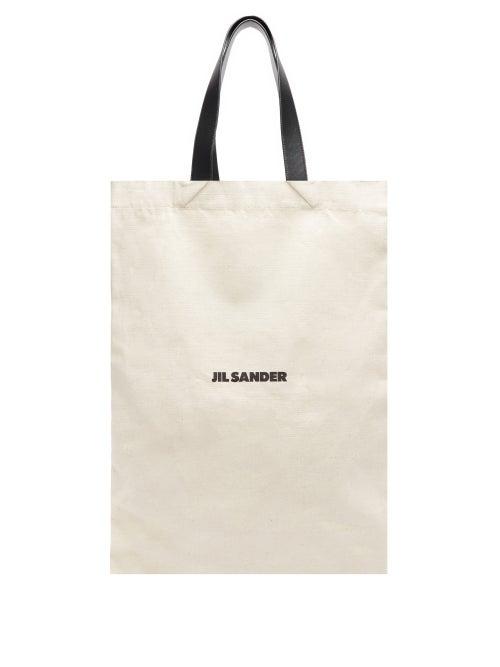 Jil Sander - Flat Shopper Large Canvas Tote Bag - Womens - Ivory Multi