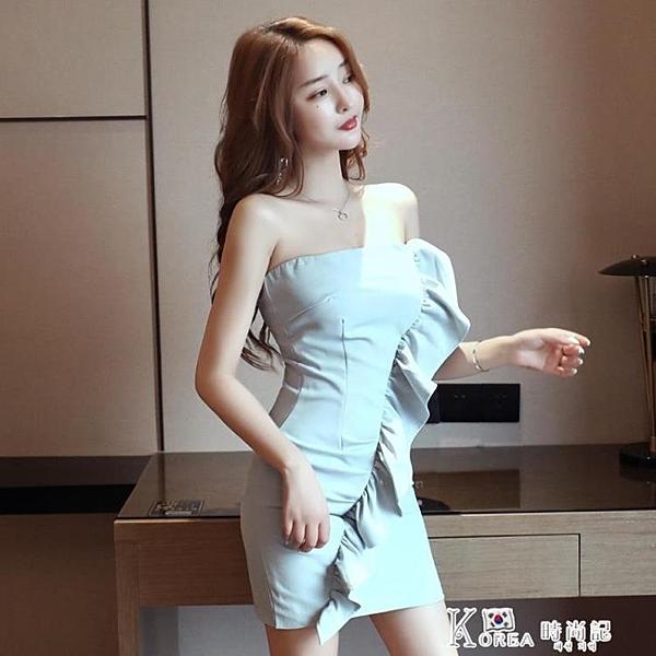 抹胸洋裝 2020年新款裙子小個子夏季性感抹胸包臀短款法式洋裝氣質女神范