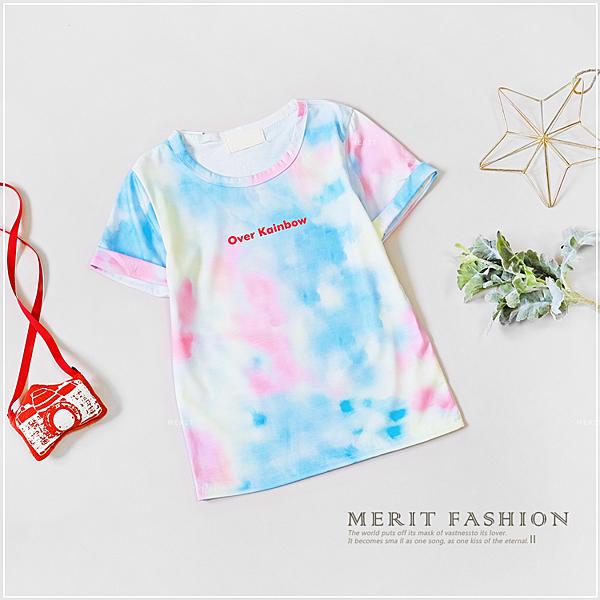水彩天空渲染字母短袖上衣 夏季短袖 舒適T恤 童裝 女童裝 男童裝 渲染 美式T恤 哎北比童裝