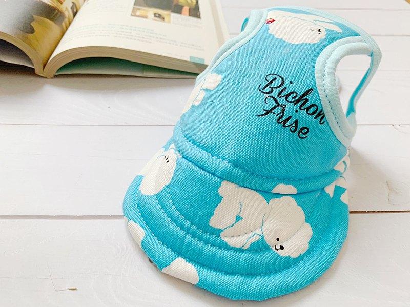 藍色比熊 翻帽遮陽帽L