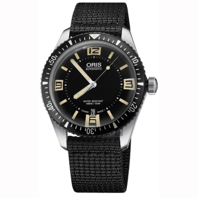 Oris豪利時 Divers Sixty-Five 1965復刻潛水機械錶-黑/40mm