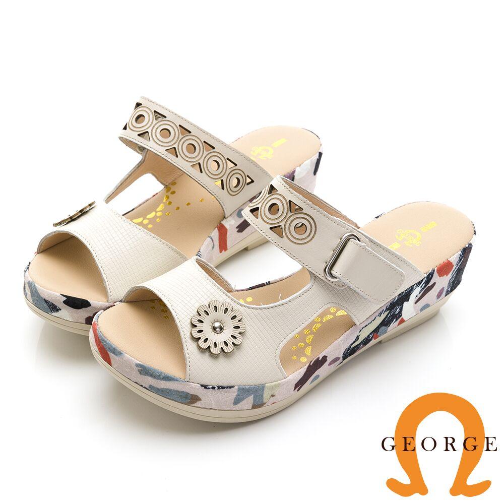 【GEORGE 喬治皮鞋】彩繪緞帶真皮厚底拖鞋-米白色013116DO-40