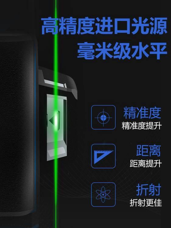 水平儀 紅外線水平儀高精度強光細線綠光12線16線藍光貼墻貼地儀平水儀 WJ【科技】